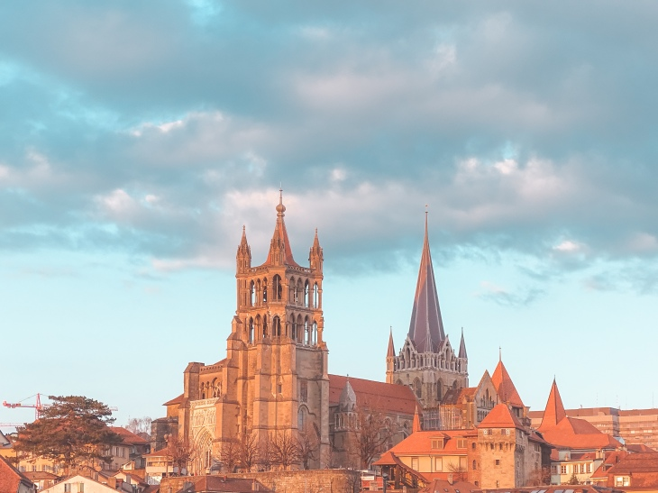 Lausanne Cathedral view from Flon